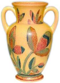 Decorated Mat glaze 9 1/2 inch vase with two handles, decorated by Wilhelmine Rehm in a strong Art Deco manner