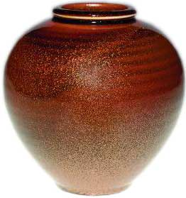 Production 4 3/8 inch vase made in 1930 and covered with a wonderful example of Rookwood's Copperdust Crystal glaze