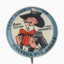 Andy Gump for President. Andy Goes To Walters For Drugs. By Parisian Novelty ca. 1920s