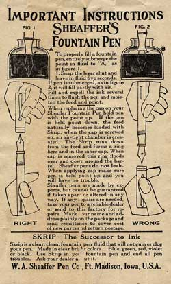 Sheaffer Pens c1922 Filling Instructions