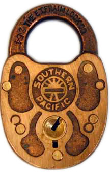 Southern Pacific brass lock manufactured by ET Fraim with #254 on shackle