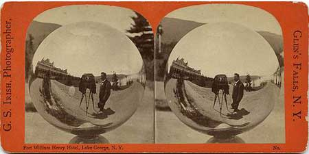 Stereo card self portrait by G.S. Irish photographer, in Glen's Falls, N.Y.