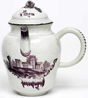 Chocolate pot and cover by Schrezheim Porcelain c.1765 - Enamel, Hard-paste porcelain