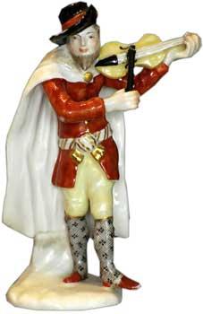 Comedy Fiddler figure by Furstenberg Porcelain c. 1775 - Hard-paste porcelain, Gold