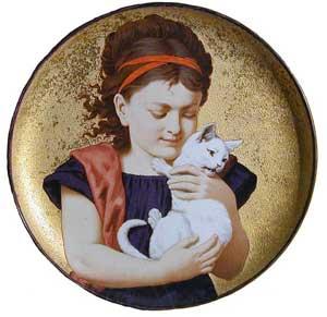 Portrait dish by Minton Pottery, H. W. Foster in 1881 - Earthenware, Gold, Enamel