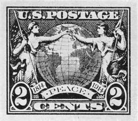 A 1914 Peace Commemorative: Outbreak of World War I prevented this essay becoming a stamp to hail one hundred years of Anglo-American peace.