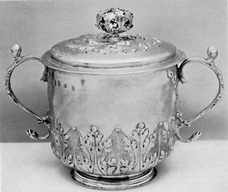 A Late 17th Century Cup with Cover: The hallmarks show it was London-made in 1682. The maker's touch is E N.