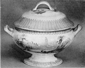 A Late Staffordshire Tureen: Of the round type, decorated with the Corinth pattern in light blue, it was made by T. Fell & Co., circa 1850. The china ladle illustrated goes with the tureen.