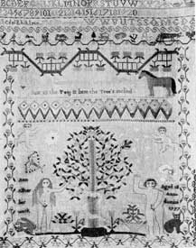 "Illustration I: American Sampler, Dated 1797: The lower part is a representation of Adam and Eve in needle stitch. At the lower left and right it is signed: ""Ann Alker her work. Aged 12 Anno domini 1797."""