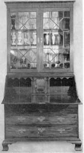 ILLUSTRATION I: An 18th-Century American Secretary: This shows the interior in place. The central cabinet can be removed and hides four drawers and two document boxes.