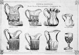 "An Old M'Kee & Brothers Catalogue: The two pitchers at the upper left are designed as R. L., ""Ribbed Leaf."" This pattern is now known as ""Bellflower."""
