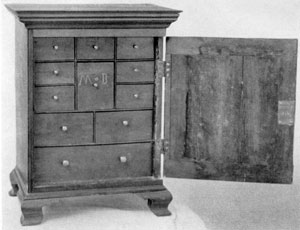 A Spice Box of Local Origin: The large central drawer bears the initials of Mary Martin Brinton, for whom the piece was made shortly after her marriage, in 1774, to Joseph Brinton. The one piece back slides upward, giving access to a number of cleverly concealed small drawers behind those seen from the front.