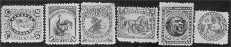 A Typical Variety of Match and Medicine Stamps: Left to right, the first three are for matches. They are the American flag and initials C.B.C. and S. from the name of the company for which it was produced; next, the rooster stamps of Charles Busch's challenge match of New Yolk; and third, Eagle decorated, one of the Aetna brand of matches. The fourth stamp shows two Arabs rubbing Merchant's Gargling Oil on a horse; the fifth, playing card stamp with a tiger head center, Russel, Morgan & Co. of Cincinnati; and last the circular stamp showing Cupid spraying the perfume of Corning & Tappan on a woman of fashion.