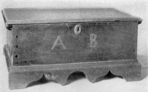Bible Chest by Amos Darlington, Sr.: The inlaid initials, A B, are those of Amos Brinton, for whom this miniature chest was made.