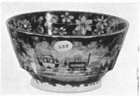 "A ""Lowell Railroad"" Bowl: This small bowl, in deep blue, does not carry any potter's mark but is obviously of the same period as the B. & O. pieces."