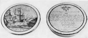 Commodore Perry's Victory on Lake Erie: The lid bears an engraved copy of a scene of this engagement and on the bottom a representation of his letter to the Secretary of the Navy, dated September 10, 1813, announcing his victory over the British squadron. Victory of United States over The Macedonia: This view of the engagement stresses in its caption that the capture was achieved in seventeen minutes.