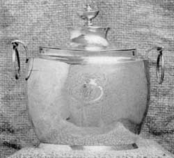 Covered Sugar Bowl by W. G. Forbes: This piece, with ring handles, is most unusual. Forbes worked in New York City where, in 1773, he was made a freeman.