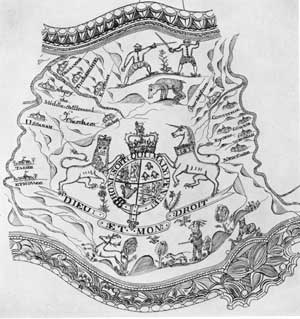 ILLUSTRATION IV: Drawing from Horn by Jotham Bemus: The region mapped is from Albany, New York, to Lake George, and gives the location of the various forts, including those at Saratoga, Fort Edward, Fort William Henry.