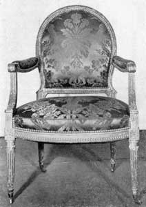 Drawing-Room Armchair: With carved and painted frame, the design is typically French. For many years it was in the collection of the late Frank M. Etting and was presented to the Historical Society of Pennsylvania as having come from Washington's Presidential residence in Philadelphia. The inventory for this house lists two arm chairs as belonging to him. Evidently they were odd pieces and this chair may have been one of them.
