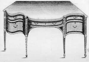 An Elaborate Sideboard Design by Shearer: In this plate he indicated variations of outline and ornamental inlay. One end has a serpentine curve and the other a concaved curve contrasting with the convexed curve of the central section. The pattern of inlay is different with each of the front legs.