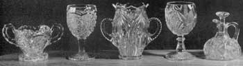 Illustraion II: Excellent Examples of Glass Made at the Turn of the Century: These pieces show how glass made in our factories had deteriorated. Both the pieces themselves and decorative patterns are coarse and heavy. The glass itself is also of poorer quality.