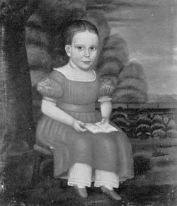 Portrait of a Child: American primitive portrait, done about 1840-50 by an unknown artist. The identity of the subject is also unknown. Against a conventional background is depicted the figure of a little girl, aged about six, in a red dress and holding an Alphabet book. Typical of the work of a self-taught artist, it shows sincerity, fair craftsmanship and excellent detail.