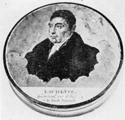 General Lafayette: This likeness was copied from an engraving by LeRoux after a portrait by A. Scheffer. It shows Lafayette in middle life when he was head of the French Garde Nationale.