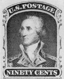 General Washington in Uniform: The original for this United States stamp was the portrait painted by John Trumbull, who served on his staff before going to London to study painting under Benjamin West.