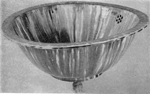 5. Hand basin for running water, a type produced at Benninton, Vermont, about 1847. It is of yellow earthenware with flint enameled glaze.