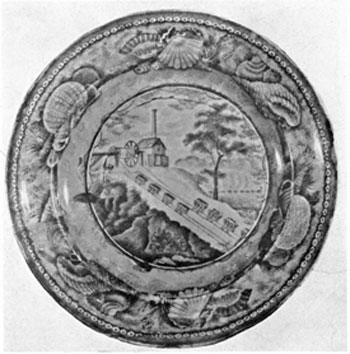 The B. & O. Incline View: This is a 9 1/4-inch plate in dark blue and bears the mark of Enoch Wood of Burslem.