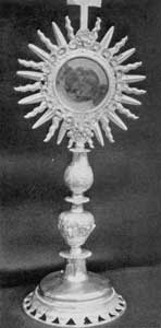 Illustration IV: By Michel Coton: This monstrance at the church of Sainte Famille, Island of Orleans, was made by this Quebec silversmith about 1700.