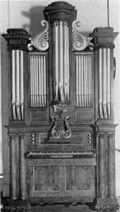 Organ by George C. Hook: With its gilded, carved mahogany case, this was made in Salem and used in various churches around Boston before it was placed in the Essex Institute Collection. Hook worked in Salem as an organ builder for some years from about 1825.