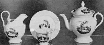 8. American porcelain manufacturer, William Ellis Tucker of Philadelphia: part of a teaset, c. 1827, with sepia medallions.