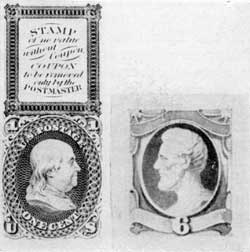 A Patented Coupon Essay: Above the proposed stamp bearing a profile head of Franklin is an ungummed coupon which was to be torn of by postal clerks as part of cancellation. At the right an 1870 essay with engraved head of Lincoln and water color frame. This was adopted, with slight variations, for a six cent stamp.