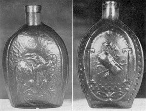 """PLATE I-A: No. 2: Pint flask, sheared neck, scarred base. Edges with large oval beading divided by pronounced central rib. Rather crude American eagle; head with abnormally large beak, facing to left; wings and feet spread; shield with fine bars on breast; olive branch grasped in left talons; thunderbolts in right; tail feathers extended fan-like below shield. Beneath, a small oval frame containing a large four-petalled ornament. The eagle has the appearance of standing on his tail feathers. Above eagle are 13 large five-pointed stars. Reverse, Masonic arch, pillars and pavement, with 18 bricks. Within the arch, """"Farmer's Arms,"""" consisting of arrangement of sheaf of rye, scythe, ax, rake, spade, pitch fork and sickle. Beneath the pavement, a scroll-like ornament. Color: Light green. This flask also occurs with the sides slightly contracted at the bottom to form a perceptible base or foot. Color: Clear brilliant green with yellowish tone. Not listed by Van Rensselaer."""