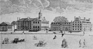 "Revere's Print of Harvard: Engraved after Joshua Chadwick, this print bears the title beneath the view, ""A Westerly View of the College in Cambridge."" The buildings depicted are Holden Chapel, Hollis, Harvard, Stoughton, and Massachusetts halls."