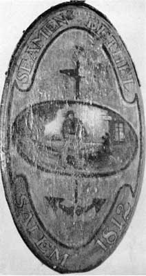Seamen's Bethel: The central horizontal oval shows a sailor with his duffel bag approaching this marine tavern. On the reverse is a finely gilded eagle similarly placed.