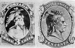 Tammany and Liberty: Chief Tammany appeared on a wood-cut early in the 186os. The head of Liberty with postage misspelled portage caused this essay to be reengraved but even then it was rejected.