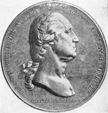 ILLUSTRATION VIII: The Du Vivier Medal: Made in 1786 to commemorate the evacuation of Boston, it was copied from the Houdon portrait statue and may have been the inspiration for some of the Berlin castings.