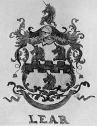 The Lear Coat of Arms: The crests on the silver were probably done from this rendering then owned by the Lear family.