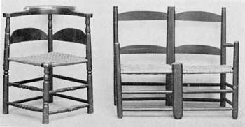 Two Variations in American Slat-Backs: At the left, a roundabout chair of maple and ash made early in the 18th Century; at the right, a wagon seat of maple and hickory that dates before 1750. This was the application of the double chair or love seat to simple farm use as done in the slat-back-chair manner.