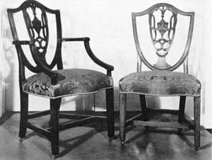 Set of Washington Chairs: These Hepplewhite chairs, both arm and side, were owned by him while President. In 1790, while living in New York, Washington purchased twelve armchairs and six side chairs from the Comte de Moustier. From the inventory, these chairs might have been those so acquired.
