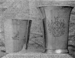 Washington and Randolph Cups: Left, camp mug with Washington's crest, by Richard