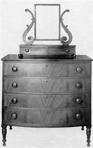 By William Hook: This bureau is typical of the American Empire furniture made in Salem about 1830-1840.