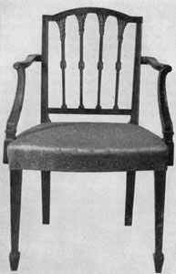 1. New York Sheraton armchair. Americanized version of a design in Sheraton's Drawing Book.
