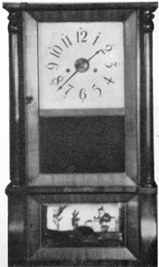 2. Forestville clock of the first period (1835-39) strap brass movement, solid escape wheel and a 20-inch pendulum in an Empire-style case.