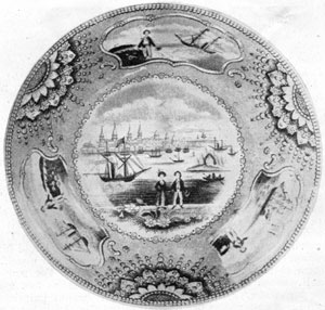 3. The view, a famous one, is New York from Weehawk, taken from the 1823 Engraving of Wall's painting. Made by Adams & Sons.