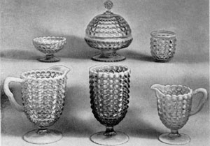 4. Group of opalescent pieces in the Thousand-Eye pattern. This pattern, sometimes confused with Hobnail and Dewdrop, can always be identified by a row of diamond-shaped points below each row of circular discs.