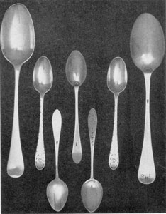 6. Spoons bearing three different variations of William Faris' touchmark, W F: (a) tablespoons made about 1760-70; (b) bright-cut or ribbon-edge teaspoons; (c) pair of small teaspoons with bell-flower drop motif.