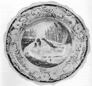 6. Unique washbowl (purple), showing view taken from the engraving of Wall's painting, Hadley's Falls. This view has not been found on Staffordshire till now. Made by James & Ralph Clews.